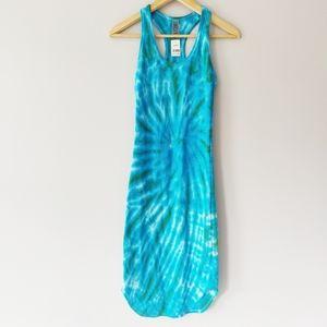 Blue Tie Dye Racer Back Tank Top Dress NWT